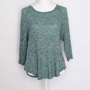 UO Sparkle & Fade Green Space Dye 3/4 Sleeve Top S